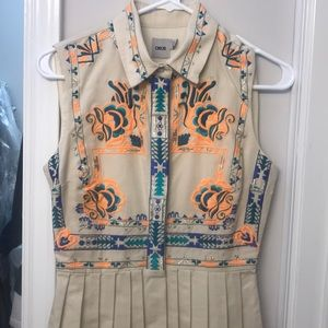 ASOS Embroidered sleeveless pleated dress sz 2
